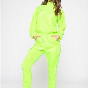 Neon green jumpsuit